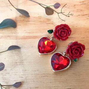 Aros Rosa Roja Colgante